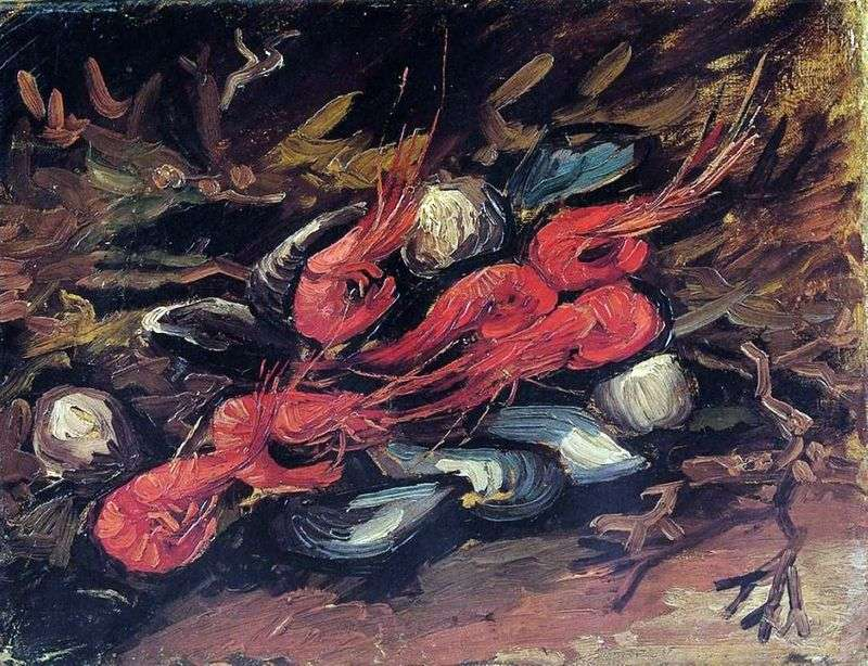 Still life with mussels and shrimps by Vincent Van Gogh