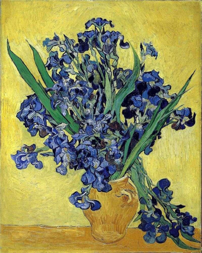 Still life: vase with irises on a yellow background by Vincent Van Gogh