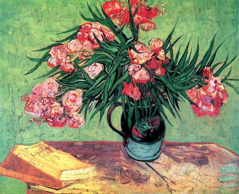 Still life: vase with oleanders and books by Vincent Van Gogh