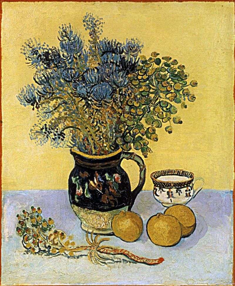 Still Life: Majolica style jug with wildflowers by Vincent Van Gogh