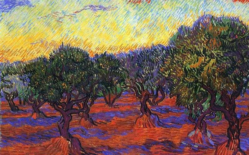 Olive grove: the orange sky by Vincent Van Gogh