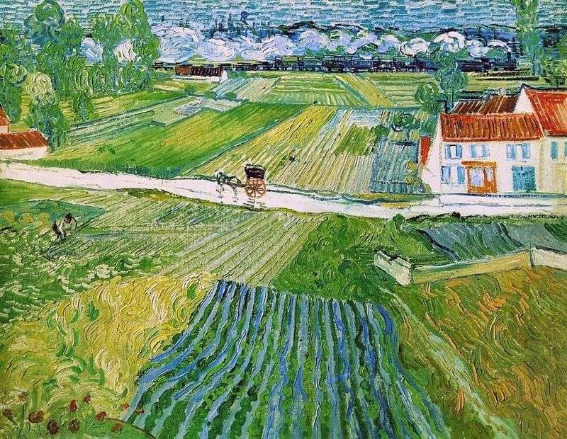 Landscape with crew and train in the background (Landscape in Auvers after rain) by Vincent Van Gogh