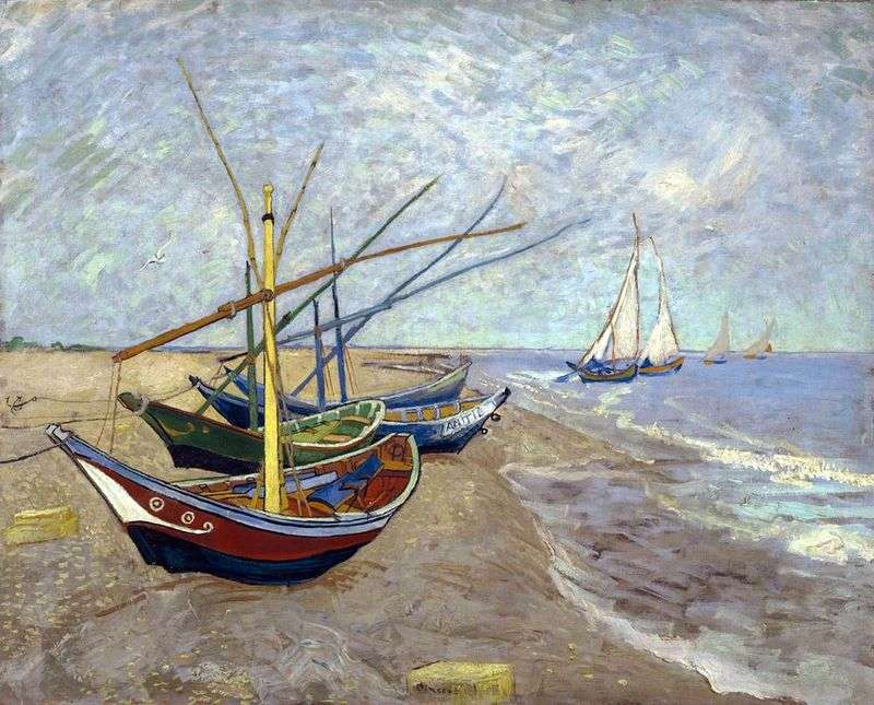 Fishing boats on the beach from Sainte Marie by Vincent Van Gogh