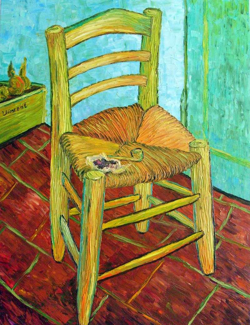 Vincents chair with his pipe by Vincent Van Gogh