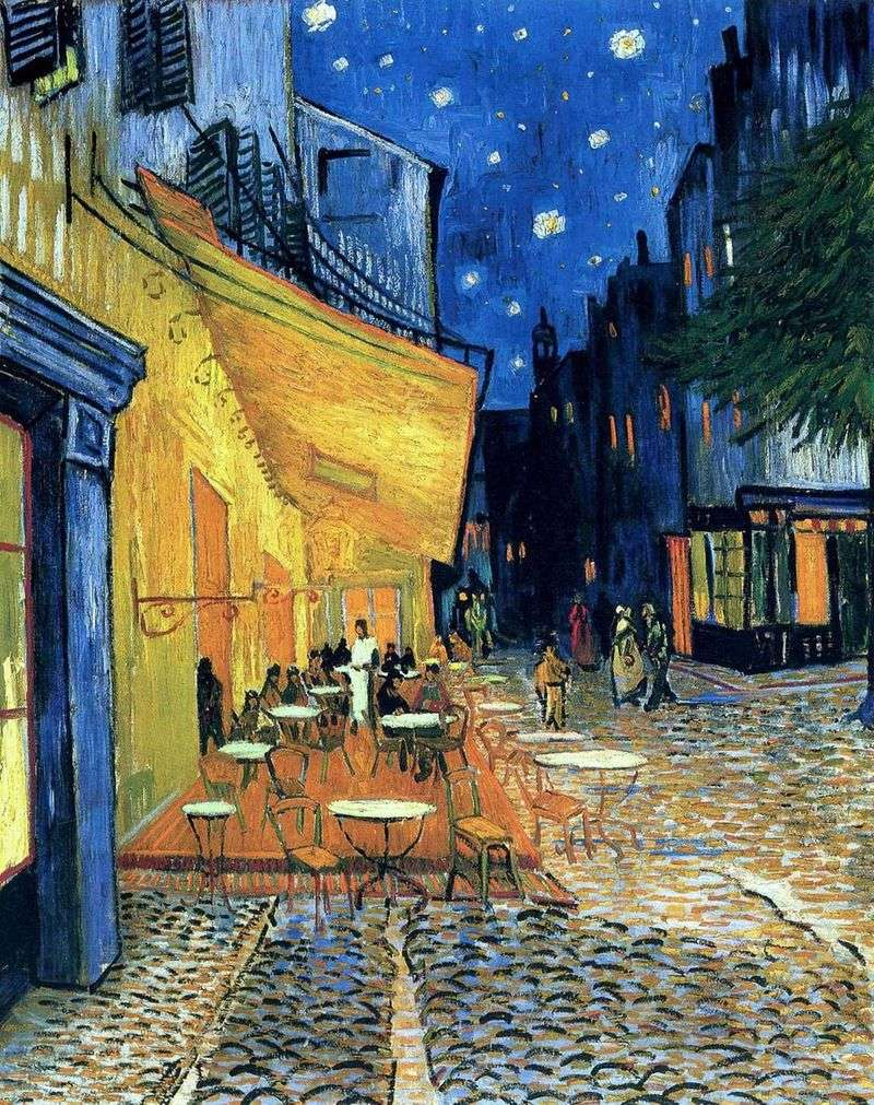 Terrace cafe in the Forum Square in Arles, at night by Vincent Van Gogh
