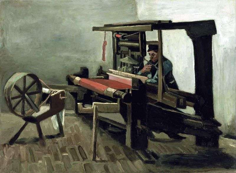 Weaver with spinning wheel, facing the artist with his left side by Vincent Van Gogh