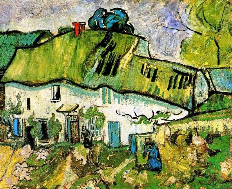 Farmhouse with two figures by Vincent Van Gogh