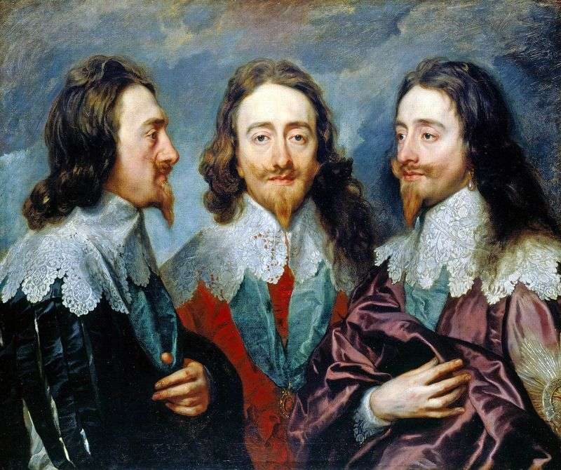 Charles I in three angles by Anthony Van Dyck