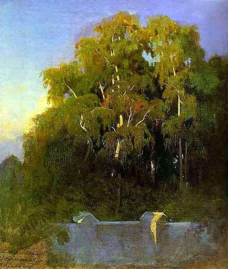 Birch grove by the evening by Fedor Vasilyev