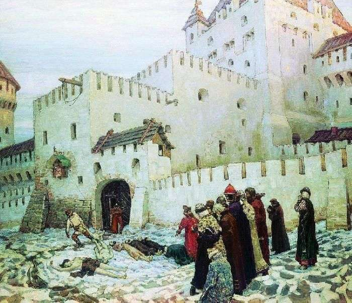 The Moscow torture chamber. The end of the XVI century (Konstantin Eleninsky gate of the Moscow prison at the turn of the XVI and XVII centuries) by Apollinarius Vasnetsov