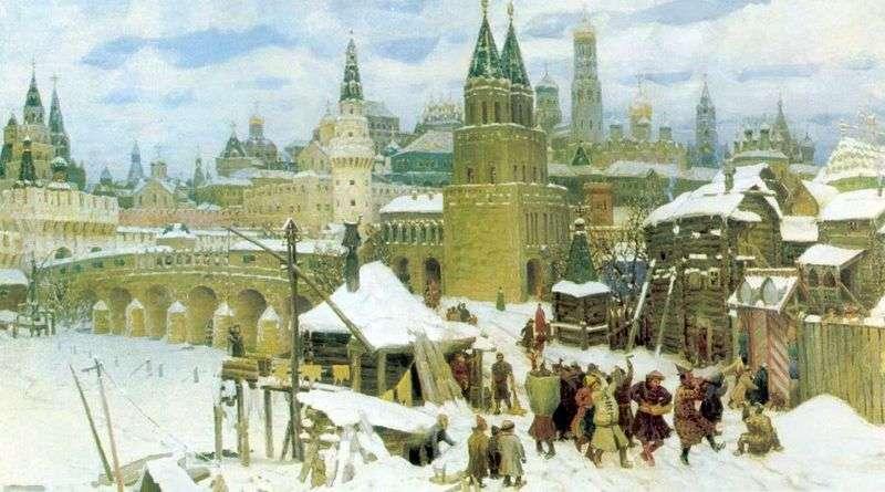 The heyday of the Kremlin. All Svyatsky Bridge and the Kremlin at the end of the XVII century by Apollinarius Vasnetsov