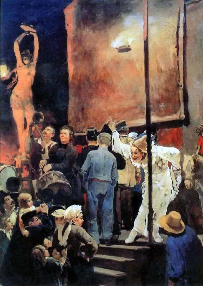 Acrobats at a celebration in the vicinity of Paris by Victor Vasnetsov