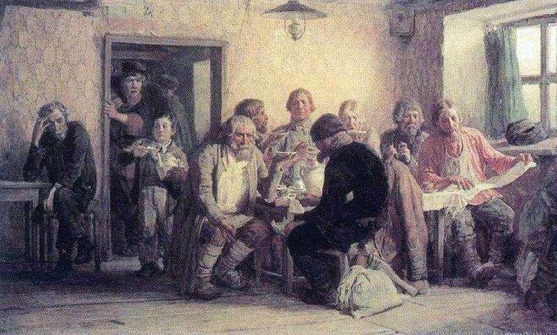 Tea in the tavern (pub) by Victor Vasnetsov