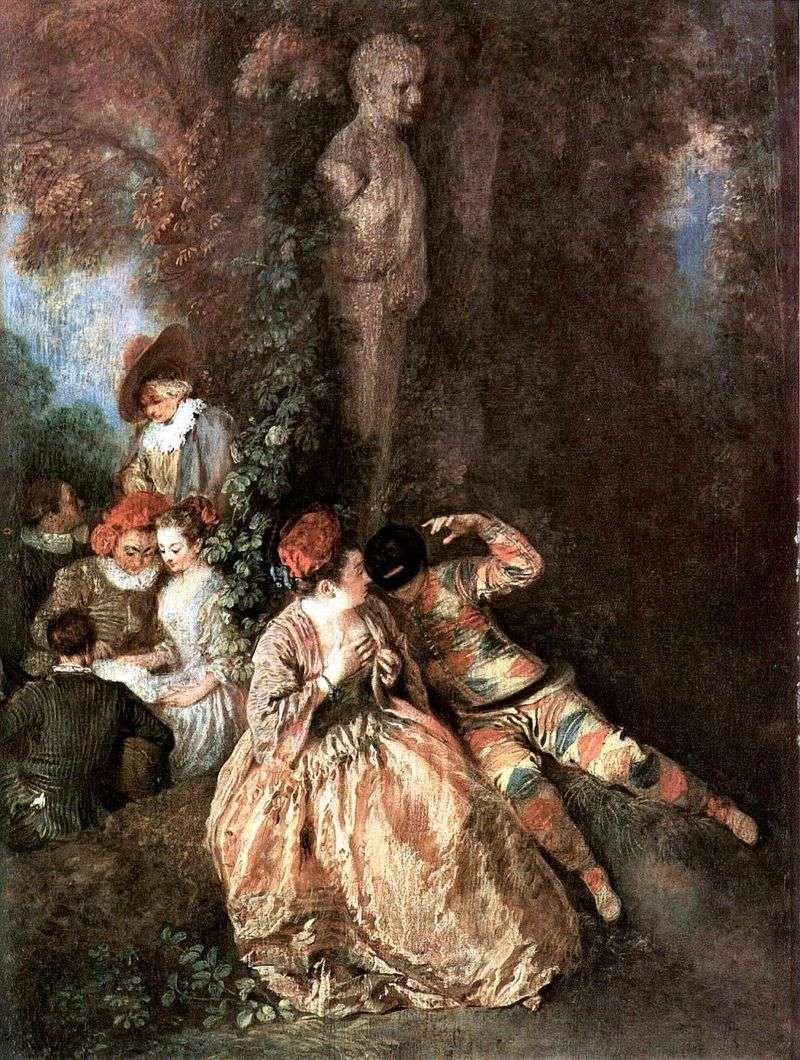 Gallant Harlequin and Colombina by Jean Antoine Watteau