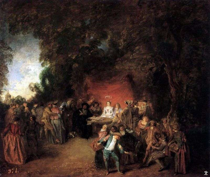 Conclusion of the marriage contract by Jean Antoine Watteau