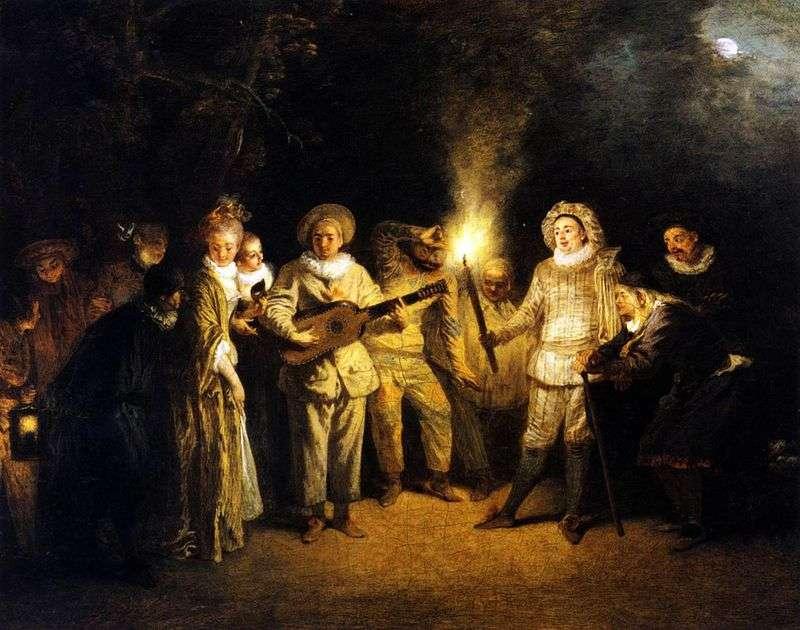 Italian comedy del arte by Jean Antoine Watteau