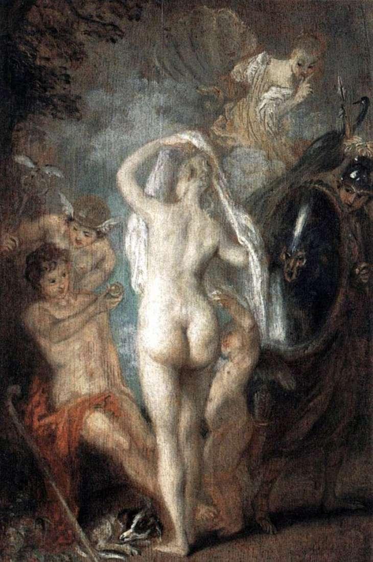 Paris chooses Aphrodite by Jean Antoine Watteau