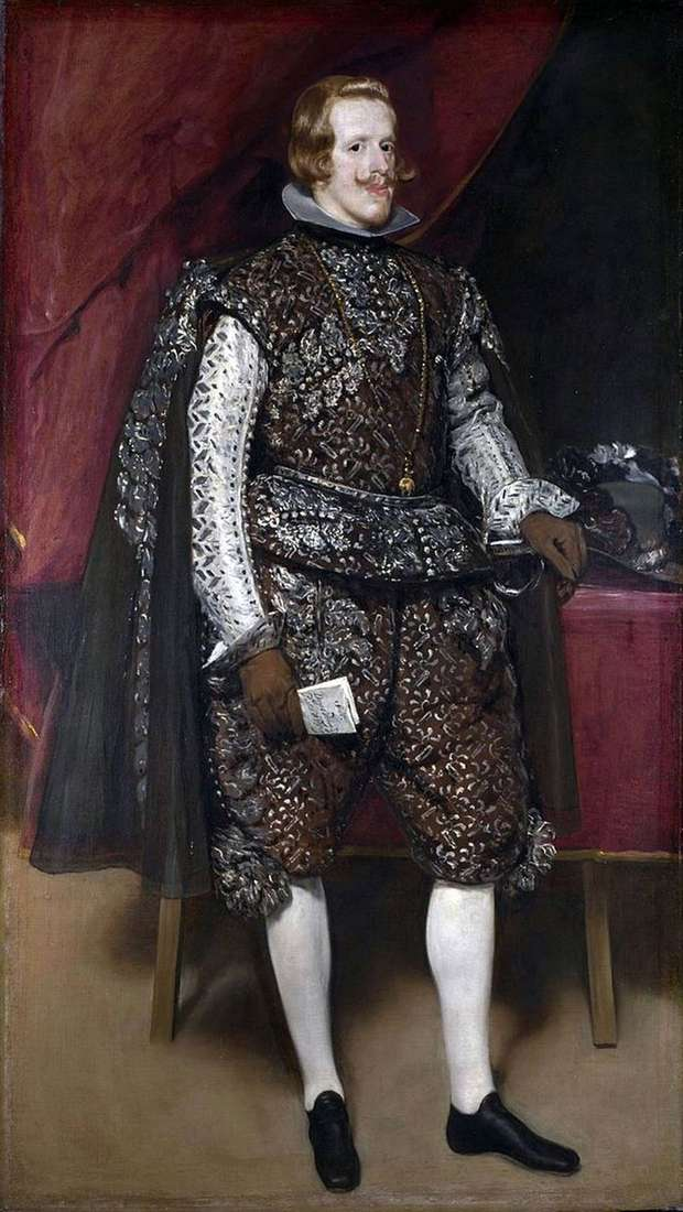 Portrait of Philip IV in a brown and silver costume by Diego Velasquez