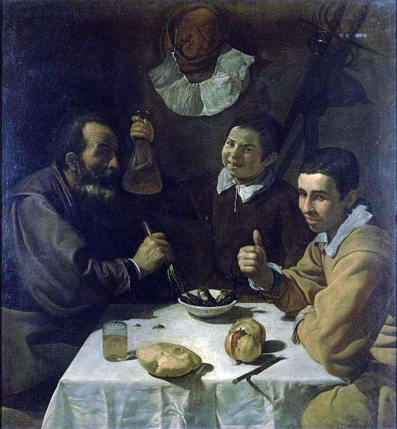 Three men at the table by Diego Velasquez