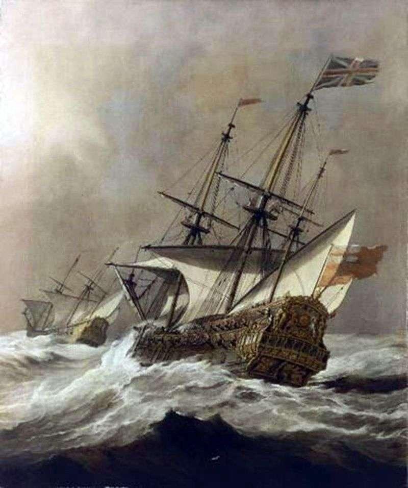 Ship in a storm by Willem van de Velde