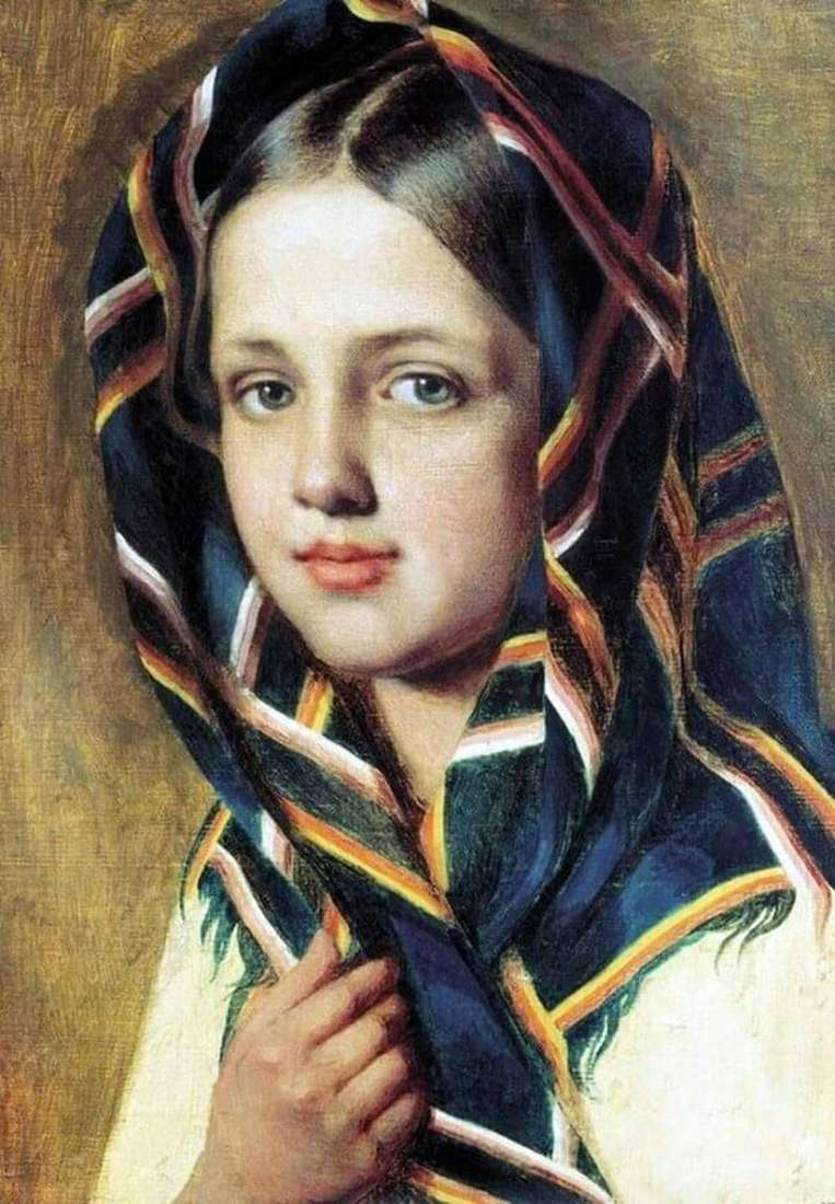 Girl in a scarf by Alexey Venetsianov