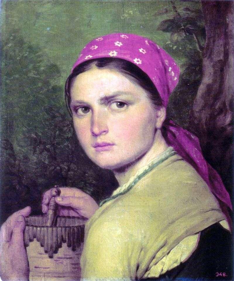 Girl with a borak by Alexey Venetsianov