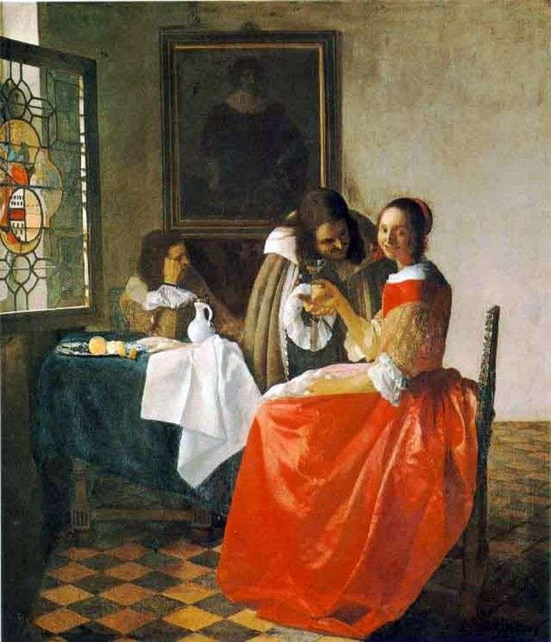 The lady and two gentlemen by Jan Vermeer