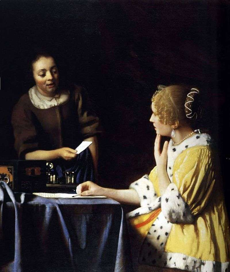 The lady and her maid with a letter by Jan Vermeer