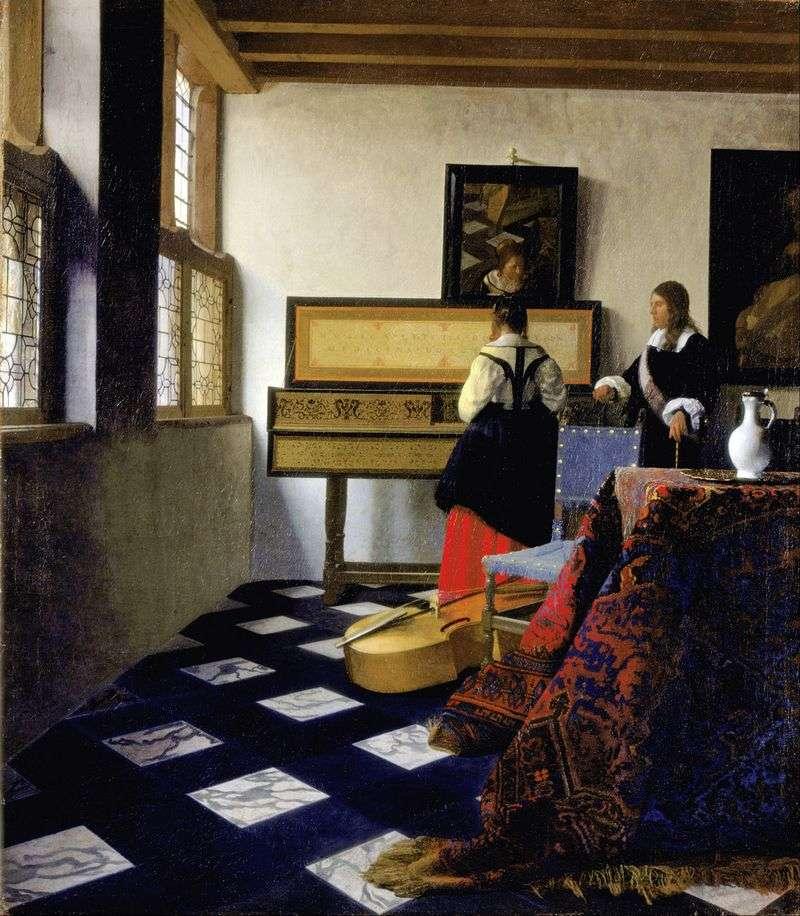 Lady of virginal and cavalier by Jan Vermeer