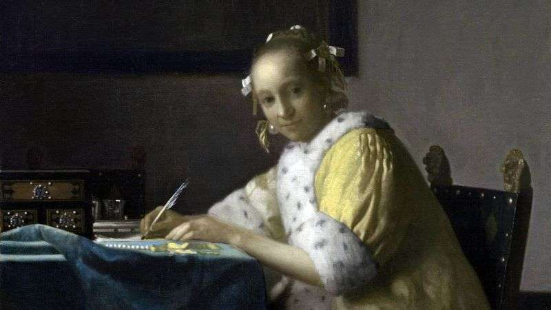 Girl, writing letter by Jan Vermeer