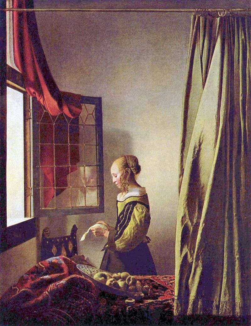 A girl reading a letter at an open window by Jan Vermeer