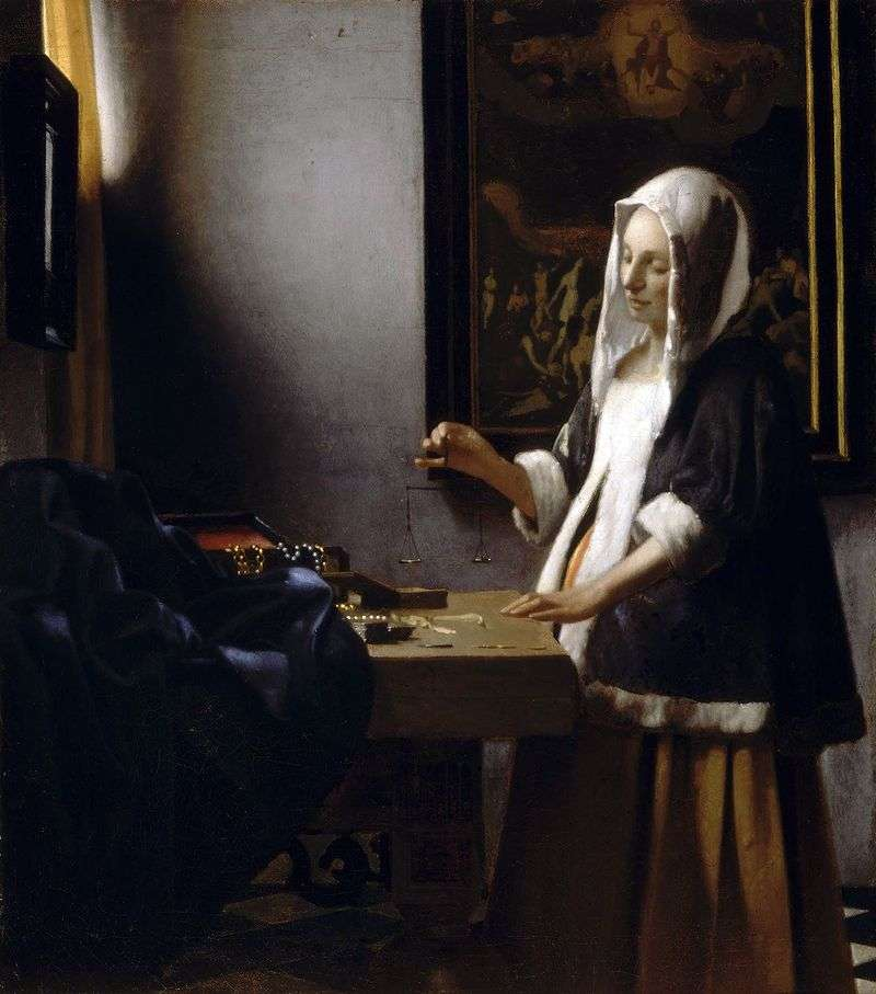 A woman busy with weights by Jan Vermeer