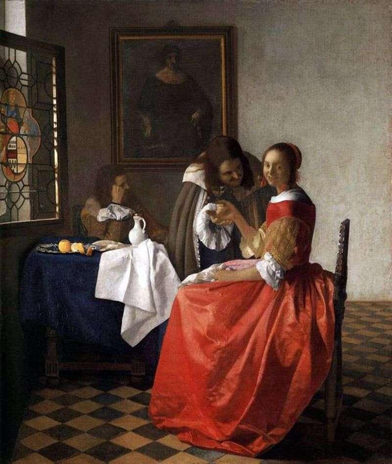 Lady and two gentlemen by Jan Vermeer