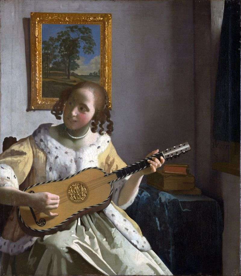 Young woman with guitar by Jan Vermeer