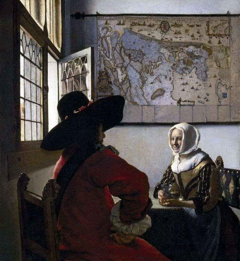 Officer and laughing girl by Jan Vermeer