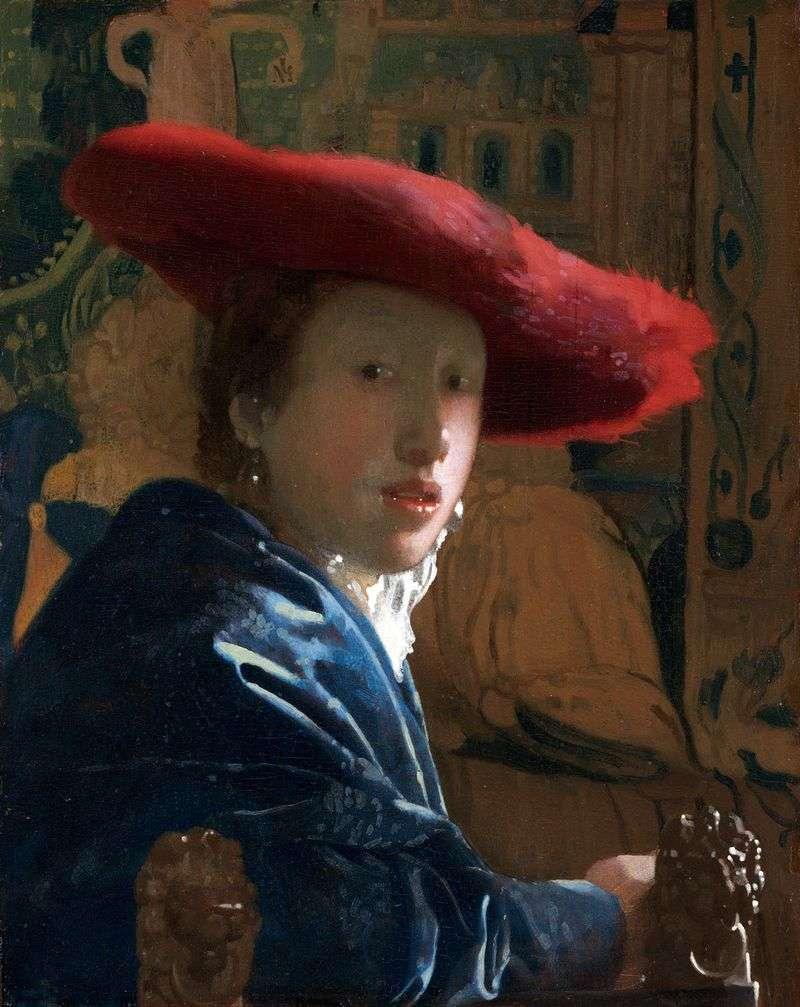 Portrait of a girl in red dress by Jan Vermeer