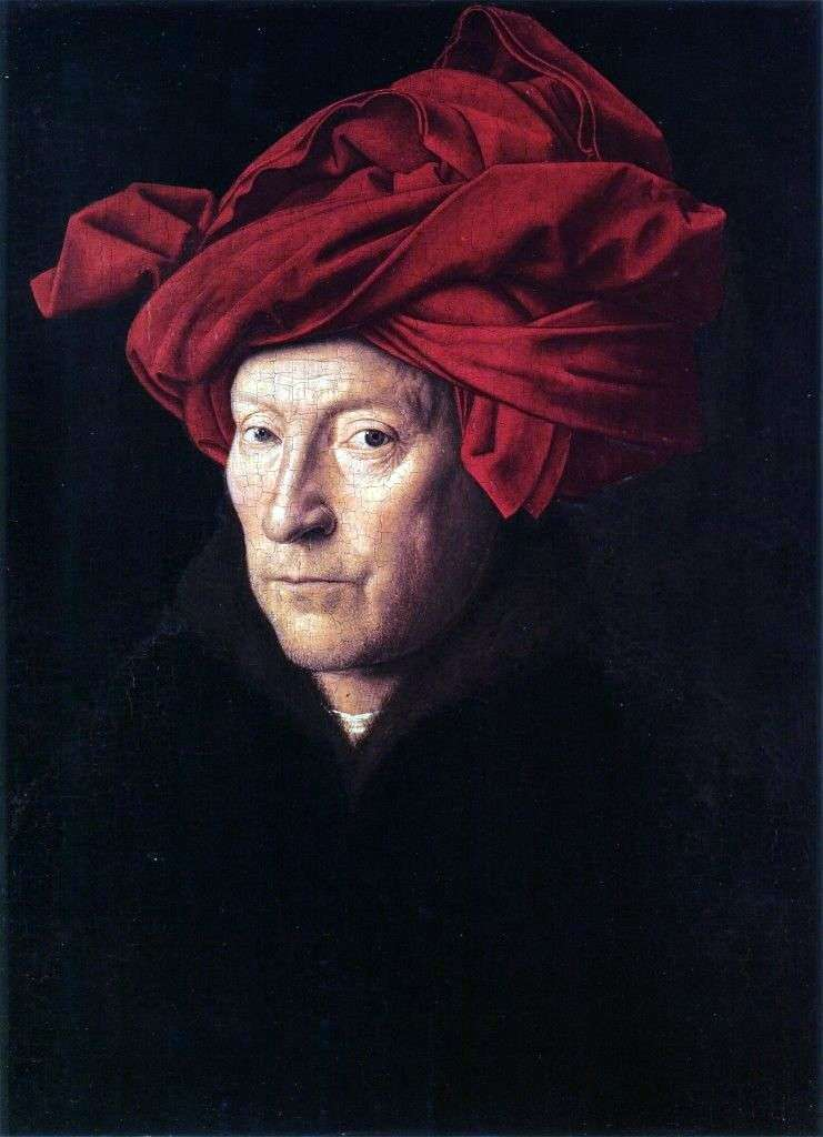 Portrait of a man in a red turban by Jan Vermeer