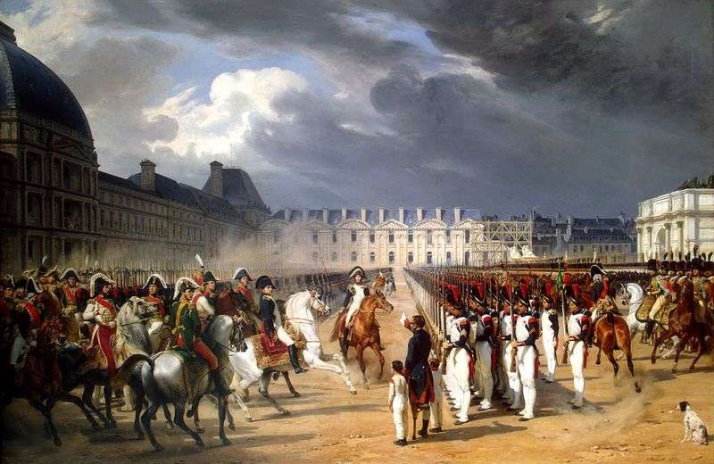 Invalid, submitting a petition to Napoleon on the parade of the Guards before the palace of the Tuileries in Paris by Horace Vernet