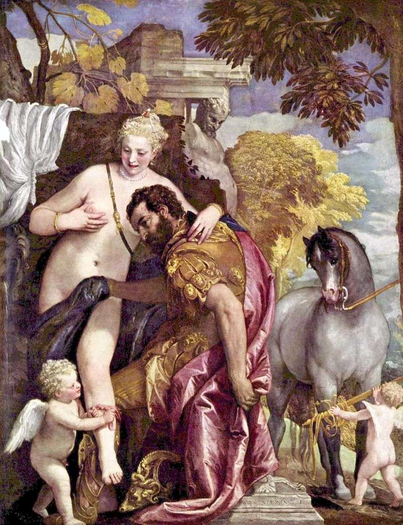 Venus and Mars connected by Cupid by Paolo Veronese