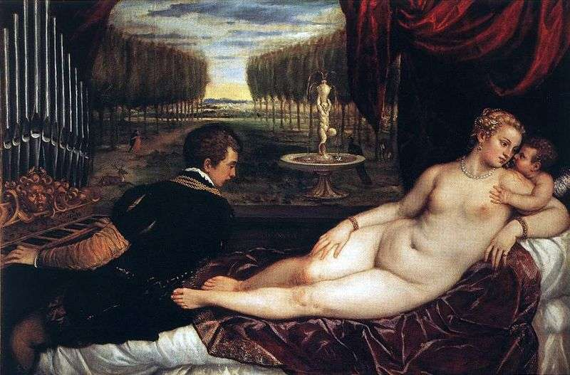 Venera with organist and cupid by Titian Vecellio