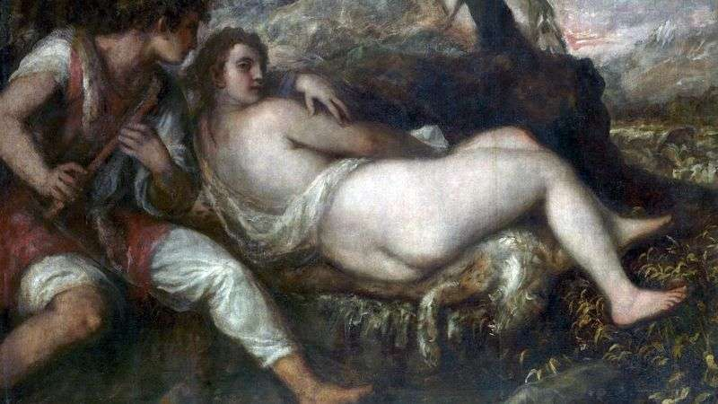 Nymph and shepherd by Titian Vecellio
