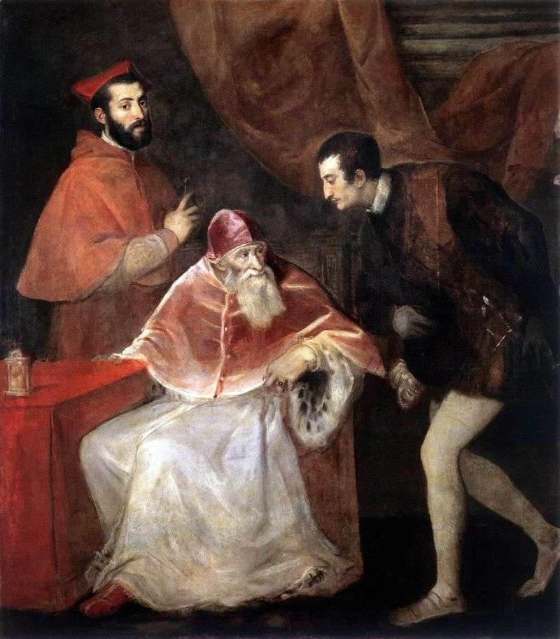 Pope Paul III with Alessandro and Ottavio Farnese by Titian Vecellio