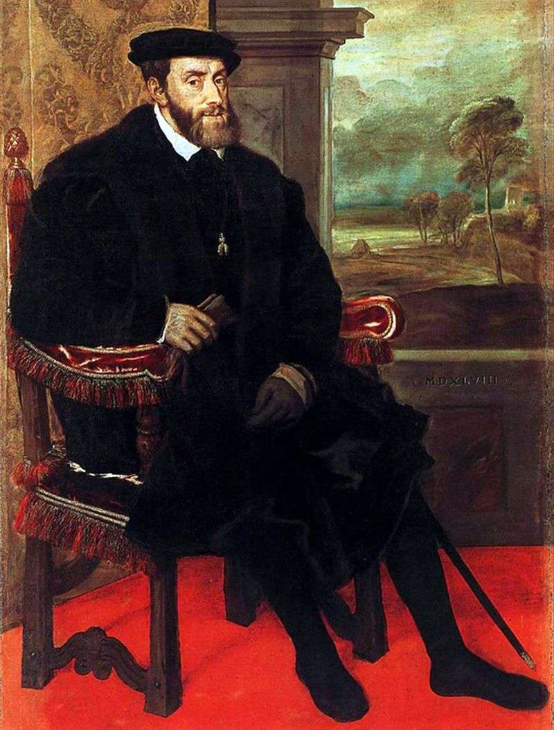 Portrait of Charles V in the chair by Titian Vecellio