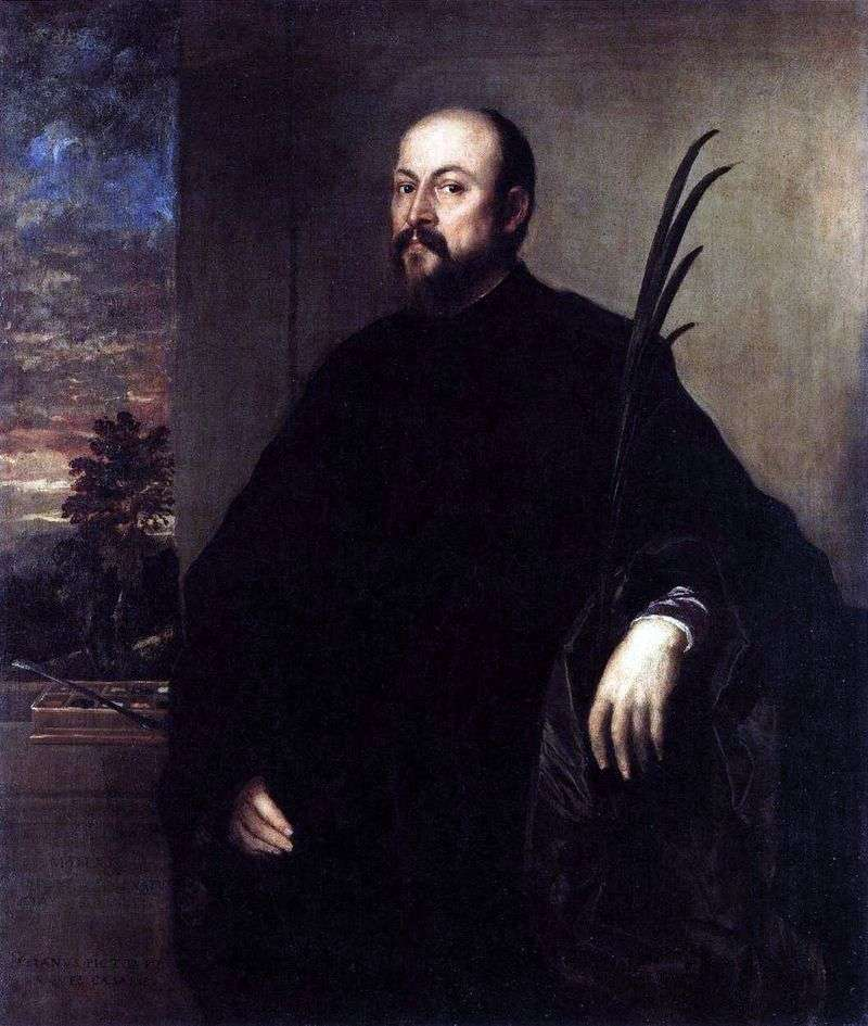 Portrait of a man with a palm branch by Titian Vecellio