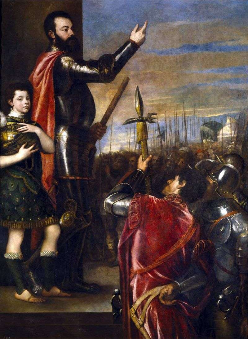 The speech of the Marquis del Vasto to the soldiers by Titian Vecellio