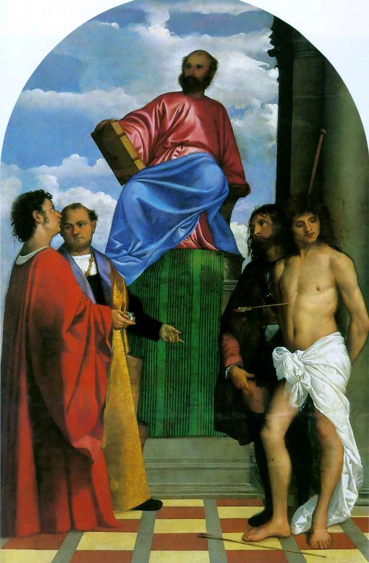 St. Mark on the pulpit with the saints by Titian Vecellio