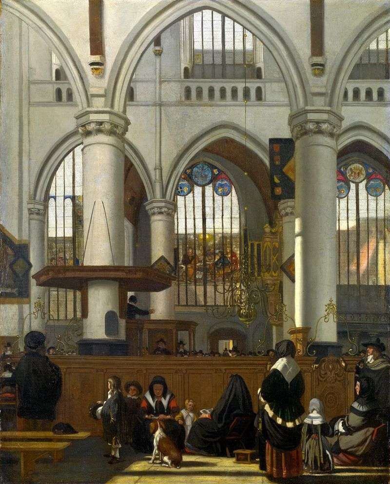 The interior of the Old Church in Amsterdam during the service by Emanuel de Witte
