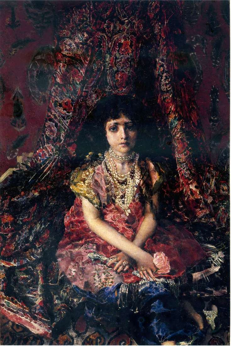 A Girl Against Persian Carpet by Mikhail Vrubel