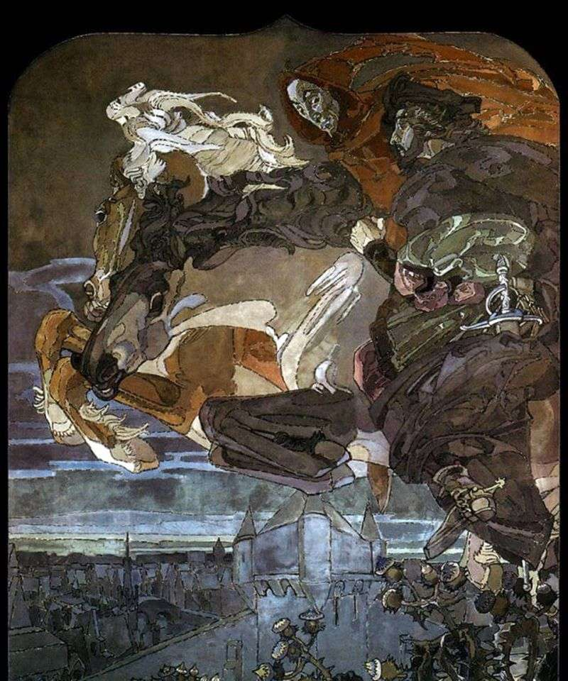 The flight of Faust and Mephistopheles by Mikhail Vrubel