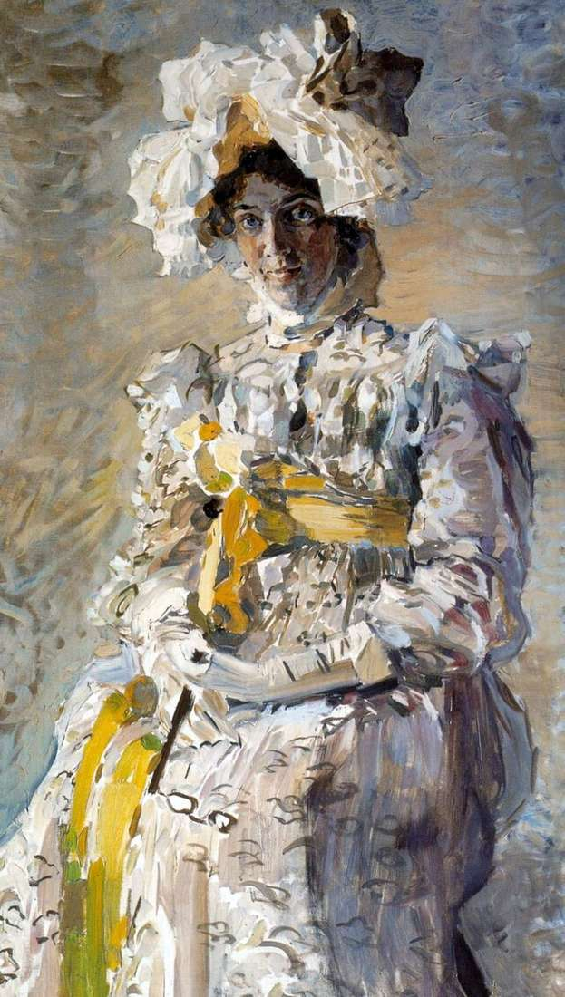 Portrait of the artist NI Zabela Vrubel, the artists wife, in the summer toilet Empire by Mikhail Vrubel
